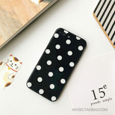 Polka Dot Toughened Glass Case Shell TPU Bumper Cover for iPhone X 6S 7 7Plus 8