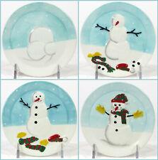 "MWW Market HOW TO BUILD A SNOWMAN 4.5"" Mini Plate Set 4Pc Blue Christmas"