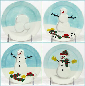 "MWW Market HOW TO BUILD A SNOWMAN 4.5"" Mini Plate Set 4Pc Blue Christmas MIB"