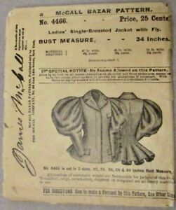 JAMES McCALL ANTIQUE PATTERN 4466 LADIES JACKET WITH FLY 34 INCH BUST 11 PIECE