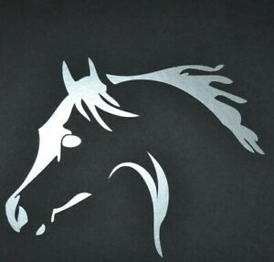 2 X 15CM SILVER HORSE HEAD STICKER DECAL EQUINE TRAILER HORSEBOX HORSE PONY