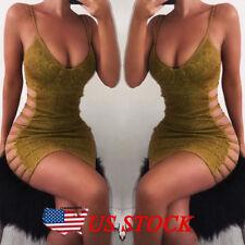 Women Sexy Bodycon Sleeveless Evening Party Cocktail Club Short Mini Dress Gold