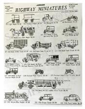 Jordan Highway Miniatures Vintage Vehicles CATALOG showing over 40 vehicles