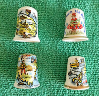 Set Of 4 English Counties Bone China Thimbles, Collectable English Places