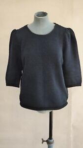 COS Navy Honeycomb Textured Sweater Jumper 100% Cotton Blouse size M