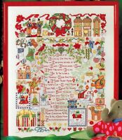🎄 CHRISTMAS Motif Sampler Cross Stitch Chart Stockings Carolers Wreath ABCs