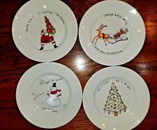 Pottery Barn Holiday Cheer Salad Plates 4 Snowman Tree Santa Sled Christmas
