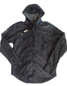 Ed Hardy Men's Long Sleeve Hooded Shirt Size Medium