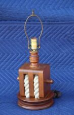 Vintage Block & Tackle Pulley Nautical Solid Wood & Rope Lamp