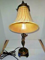 VTG Art Deco Nouveau Fem Figure Reading Lamp Savoy Steuben Glass Shade 1900-?