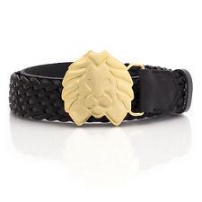 Rastaclat Weaved Leather Black Iron Gold Lion Buckle Belt