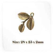 10 Bronze Antique Vintage Style Leaf Charms Pendant Steampunk 080