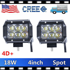 2X 18W Cree Led Work Lights Pods Spot Offroad Lamp ATV Auto UTE 4'' Cube 4D LENS