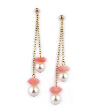 Akoya pearl pink coral gold filled dangle earrings EAR040046