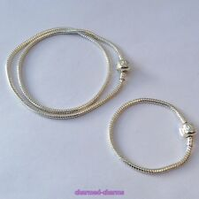 Silver Plated 3mm Snake Chain Love Snap Clasp Charm Bead Bracelet / Necklace