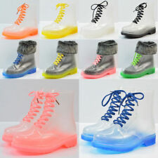 Clear Rain Ankle Boots  Jelly Martin Lace up Flat Rubber Wellies RainshoesWomens