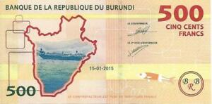 BURUNDI 500 Francs; P - 50a, UNC; 2015;  Map of Burundi; CROCODILE