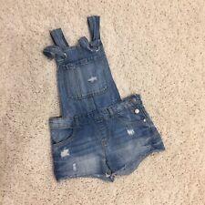 Zara Girls Distressed Light Wash Denim Shortalls Size 6