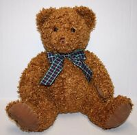 "Princess Soft Toy CURLY Plush Stuffed TEDDY BEAR CHESTNUT 16"" Plaid Bow Sits 13"""