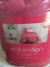 XHILARATION CHAMBRAY TEXTURED DISCO PINK 2 PIECE EXTRA LONG TWIN COMFORTER SET