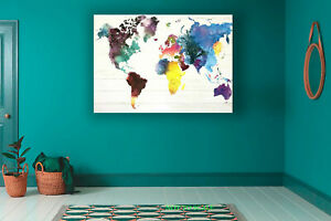 WORLD MAP IN WATER COLOURS ART CANVAS PRINT, ROLLED,STRETCHED or FLOATING FRAME