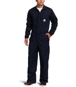 CARHARTT MEN'S COVERALL DARK NAVY BLUE 38 TALL FIRE RESISTANT FR TWILL NEW NWT