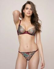 Agent Provocateur SPARKLE BRA 34E & BRIEF AP Size 3 in WINE/MULTI FLORAL - BNWT