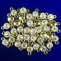 12Pcs Tibetan Gold Wrapped White Crystal Round Connector Pendant Bead  NN1598