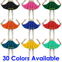 Satin 3 Tiered Mini Skirt Belly Dance Jupe Tribal Pleated Retro Elastic Ruffle