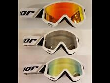 Thor Combat White/Black Goggles & Mirror Lens Motorcycle Racing ATV Offroad MX