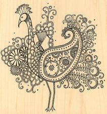 Fancy Peacock Wood Mounted Rubber Stamp Impression Obsession Hannah Davies NEW