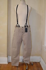 DSQUARED² VERY RARE CASUAL KHAKIS & BLACK SUSPENDERS LEATHER TRIM OVERALLS S 48
