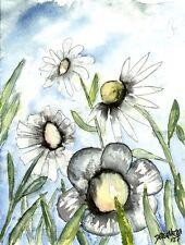 white daisy daisies flowers botanical flower watercolor painting art print