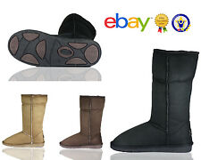 New Women Ladies Faux Suede Mid Calf Fur Classic Winter Boots Shoes Size Leather