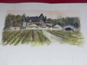 Jean-Pierre Remon Watercolour Original Signed Wine de France Castle Top Brion
