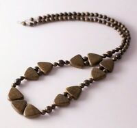 Vintage Brown Earthy Wood Beaded Triangle Boho Bohemian Ethnic Necklace
