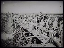 Glass Magic Lantern Slide SOLDIERS CROSSING BRIDGE AT LIBERMONT WW1 PHOTO FRANCE