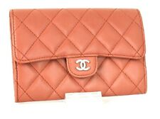 Auth Chanel CC Logo Pink Lambskin Quilted Leather Wallet Purse Hand Bag France