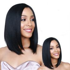 Women Fashion Shoulder Length Pure Black Hair Wigs Heat Resistant Straight Wig