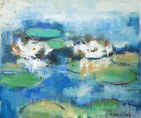 Demenko Natalia White Water Lilies Impressionism Stylish Modern Art Oil painting