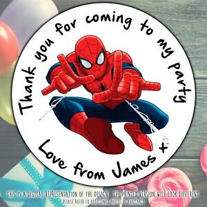 Personalised Spiderman Birthday Stickers For Party Thank You Sweet Cone