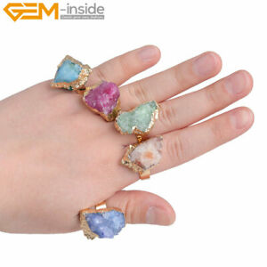 Adjustable Yellow Gold Plated Quartz Rings Druzy Drusy Stone for Women Jewelry