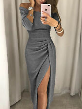 Women's Off Shoulder Long Sleeve Bodycon Evening Cocktail Party Long Dress