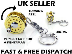 Fishing Reel Keyring Fly Fishing Metal Spinning Fishing Gift Miniature Fisherman