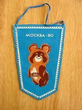 Genuine Original 1980 Moscow Olympic Summer Games Mascot Misha Pennant Banner