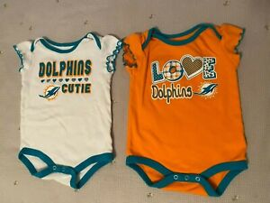 2 NFL Team Apparel Miami Dolphins Cutie, Love Dolphins Baby Girl one piece