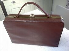 Vintage Brown Faux Leather Snakeskin 1960-70s Retro Briefcase Christmas Present
