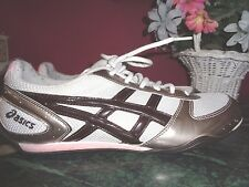 ASICS WOMENS 10M FAUX LEATHER AND TEXTILE MESH IN SILVER,WHITE,BLACK AND PINK VG
