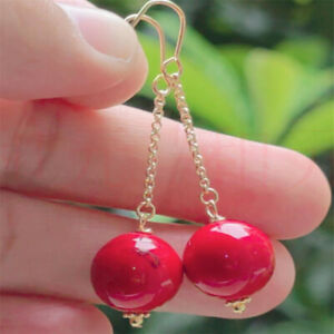 Elegant Natural red jade gold Earrings Ping buckle 18K FOOL'S DAY Fashion Easter