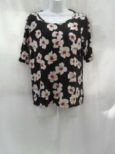 size 16 black cream and red floral top Marks and Spencers